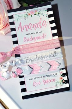 A special gift to ask your besties to be your bridesmaids. These are great as gifts or favors for bridal showers, bachelorette parties, or wedding gifts. Perfect for every hair type. Creaseless, wont pull hair. Cute to wear on wrists like a bracelet! Includes: - (1) Personalized