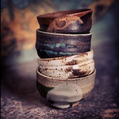 Stoneware sake Cups by Ralph Naura