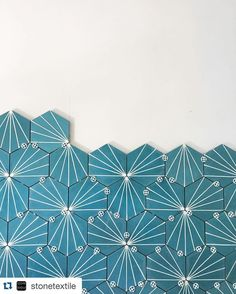 Love seeing our Aqua Dandelion hex cement tile on @stonetextile's beautiful feed!  #repost  install happening -- love this fun pattern we chose for the master bath #interiorsbystonetextile #hymanreno by clayimports