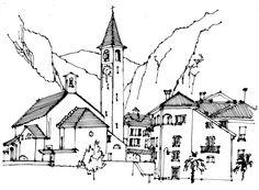 Bignasco. Ricepaper & ink. www.anneroseoosterbaan.nl urban sketcher