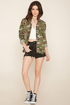 Camouflage Print Shirt Jacket