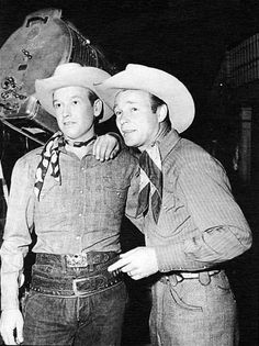 "Roy Rogers welcomes ""The Arizona Cowboy"" Rex Allen to the Republic Studios."