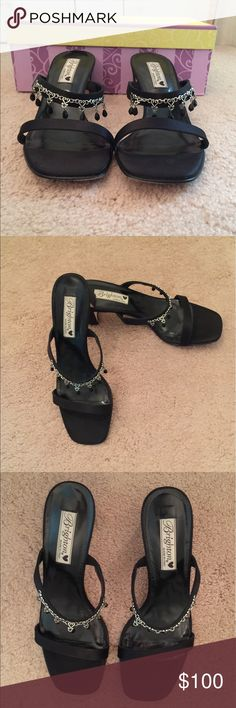 Brighton Tia satin sandals with black beads Brighton Tia satin sandals with silver chain & black beads.  Stunning shoe.  Excellent condition Brighton Shoes Sandals