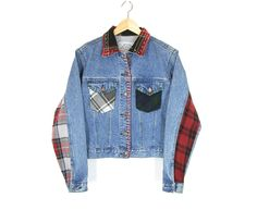 Vintage Flannel Denim Jacket -- Patchwork Jean Jacket -- 90s Grunge Trucker Jacket -- Plaid Flannel & Denim -- Red Stitching -- Womens S / M by ImprovGoods on Etsy
