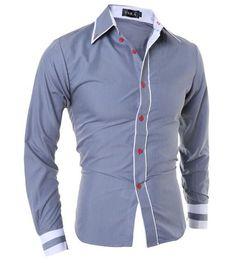 Men Shirt 2017 Fashion Brand Men'S Cuff Striped Long-Sleeved Shirt Male Camisa Masculina Casual Slim Chemise Homme XXL SHDWQ