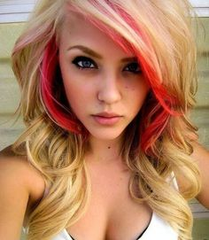 This is a cute cut and hair style. Also love the blonde n red together