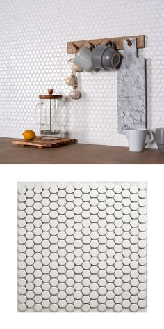 Circular White Matt Mosaic Tiles Add a contemporary new look to your wall and floor spaces by introducing these Circular White Matt White Mosaic Tiles, White Bathroom Tiles, Kitchen Tiles, Small Bathroom, Bathroom Showers, Master Bathroom, Bathroom Ideas, Bathrooms, Penny Round Tiles
