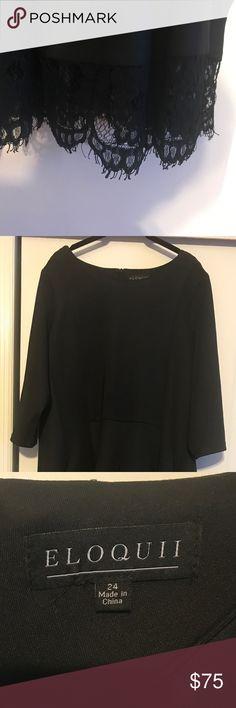 Formal black Eloquii dress with lace trim Super comfortable, formal three-quarter length sleeve lace trim dress. High waist line. Very flattering! Dresses
