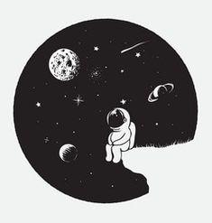 Astronaut looks to universe vector Astronaut Cartoon, Astronaut Drawing, Astronaut Illustration, Space Illustration, Space Drawings, Cool Art Drawings, Art Drawings Sketches, Easy Drawings, Trippy Painting