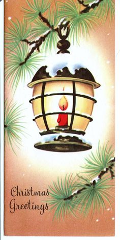 1950's Vintage Christmas Tree Red Candle Lantern Christmas Card | eBay