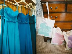 Blue bridesmaid dresses and bridesmaid gift bags | Photography by http://www.elliegillard.co.uk/