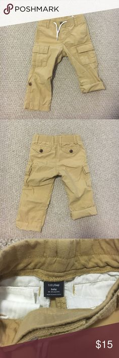 Baby GAP Cargo Pants ☀️Baby GAP Cargo Pants ☀️Elasticized waist is soft knit covered - drawstring is decorative ☀️Pull on style ☀️Roll up adjustable length legs with button and tab to hold in place ☀️The knees, seat, and bottom of the legs are all in like-new condition.  ☀️The quality of these pants is very good. They are soft, and still have a lot of life in them. GAP Bottoms Casual