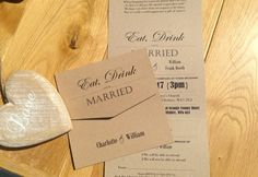 Vintage Tri Fold Wedding Invitations. Shop online at www.daisychaininvites.co.uk