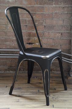 Tolix Style Vintage Matte Black + Gold Stackable Steel Side Chair (Minimum Order Quantity Needed)