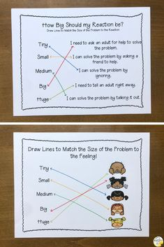 Help students learn self-regulation strategies, how to identify the size of the problem and how to practice appropriate reactions with this fun, chameleon themed self-regulation activity pack. Elementary School Counselor, School Counseling, Elementary Schools, Social Emotional Learning, Social Skills, Social Work, Counseling Activities, Leadership Activities, Group Activities