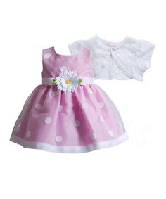 Look at this #zulilyfind! Pink Polka Dot Daisy Dress & White Shrug - Infant by Youngland #zulilyfinds