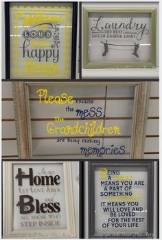 collage of floating glass frames with vinyl decals  - DIY project - How-To Guide - Awesome Gift Ideas!