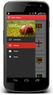 #WCC15 App displays the fixtures, live scores, match statistics, team details, player information and the venue details.