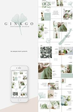 Ginkgo design line features a soft, natural aesthetic that's easy on the eyes and makes great use of white space. --- The cost of the bundle comes down from Instagram Design, Layout Do Instagram, Banner Instagram, Feeds Instagram, Instagram Grid, Instagram Posts, Insta Posts, Ppt Design, Layout Design