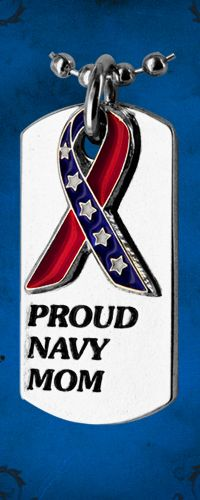Proud Navy Mom Flag Ribbon Dog Tag Necklace at The Veterans Site Army Mom, Navy Military, Army & Navy, Military Life, Go Navy, Navy Man, Navy Quotes, Us Sailors, Proud Of My Daughter