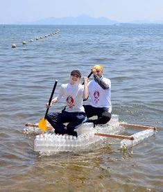Asahi newspaper photo: bottle boats