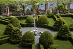Hedges and cones of boxwood (Buxus Sempervirens L.) - Topiary art in the Italian-style monumental garden of La Cervara. Portofino, Italy - #boxwood #topiary -More on www.cervara.it