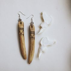 wood stick earrings  wood burned jewelry  long wood by gorimbaud