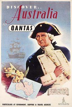 Australian National Publicity Association, linnen backed lithographic poster depicting Captain Cook, 'Discover Australia, Fly Qantas', artwork by James Northfield, printed by F.W.Niven, Melbourne.