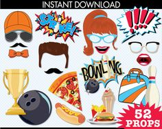 ... Instant Download PDF - 45 DIY Printable Props | Photo booth props