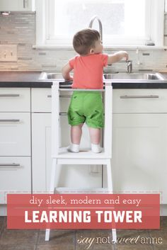 Diy baby furniture learning tower ideas for 2019 Ikea Stool, Diy Stool, Step Stools, Toddler Learning, Toddler Activities, Childrens Step Stool, Toddler Table, Toddler Stool For Kitchen, Learning Tower