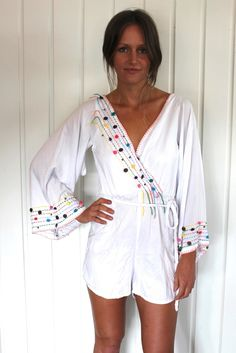 kirra pompom playsuit - white / south of the border