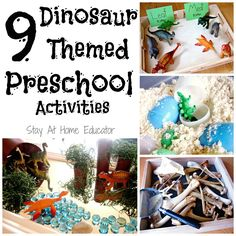 9 Dinosaur Themed Preschool Activities - Stay At Home Educator - Add any of these dinosaur activities for preschoolers to your dinosaur theme lesson plans. Dinosaur Theme Preschool, Preschool Science Activities, Dinosaur Activities, Dinosaur Crafts, Animal Activities, Preschool Themes, Preschool Lessons, Infant Activities, Preschool Activities