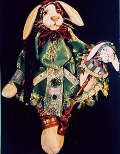 "Renaissance Rabbit  This elaborately costumed 18"" soft sculpture is an exciting creative challenge for advanced dollmakers Cloth Doll Making Patterns by  Karen Shifton"