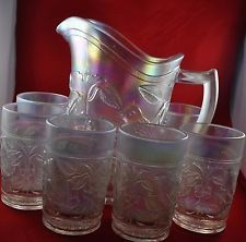 Imperial Vintage Robin Singing Bird White Carvinal Glass Pitcher and 6 Tumblers