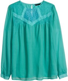 H&M Crinkled Lace Blouse - Natural white - Ladies on shopstyle.com
