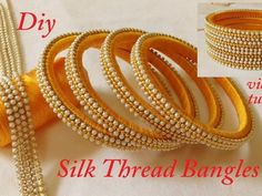 How To Make Silk Thread Designer Bangles at Home Silk Thread Bangles Design, Silk Thread Necklace, Silk Bangles, Bridal Bangles, Thread Jewellery, Handmade Beaded Jewelry, Handmade Jewelry Designs, Designer Bangles, Designer Jewelry
