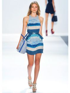 Water, Water Everywhere // Charlotte Ronson - The designer admits that water has been her key inspiration in designing her current collection. In a palette of sea blues and greens and sandy beach nudes, this peplum almost looks like the waves of the ocean.  Read more: Spring 2013 Fashion Trends - Best Trends from Spring 2013 Fashion Week - Marie Claire #SS13