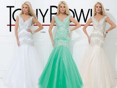 Prom Dress 2014 Collection- Illusion gown with wide straps, and low, curved back with sheer illusion insets, bands of crystals on the dropped-waist bodice and full mermaid-style skirtSizes: 0-16