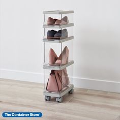 Create a personal organizer that makes the most of your space with this 10-piece starter kit of stackable, mixable, modular storage bins. With convenient dimensions and impressive capacity, this starter kit can work in small spaces found in closets, craft rooms or home offices. Four bins include two short and two tall open-front bins for easy access to shoes, folded garments and more. Other essentials include four fitted lids, a sturdy base with removable feet and casters. Modular Storage, Storage Bins, Personal Organizer, Container Store, Starter Kit, Your Space, Shoe Rack, Small Spaces, Organization