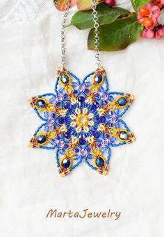 Mandala necklace beaded star lotus flower by MartaJewelry on Etsy