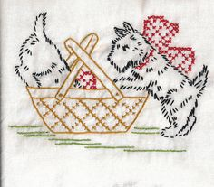 from previous pinner...Scotty dogs.  My Mom would embroider tea towels galore. Had a set of chores for every day of the week towels.  : )