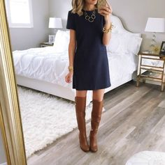 Take a look at 15 ways to wear a navy dress outfit and what accessories to choose in the photos below and get ideas for your own amazing outfits! A scalloped navy shift dress styled for an all day look with… Continue Reading → Mode Outfits, Fall Outfits, Fashion Outfits, Dress Fashion, Flannel Outfits, Fall Dresses, Fashion Styles, Summer Outfits, Fashion Trends