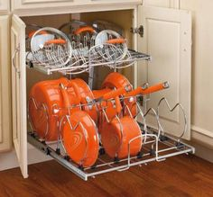 Pots and Pans organization... We could do this in our kitchen...