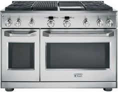 GE Monogram® Pro Style Gas Double Oven Range-Stainless Home Appliances, Kitchen Appliances and HDTV's in Bridgeville, PA 15017 Four A Convection, Convection Cooking, Clean Oven Door, Freestanding Double Oven, Calgary, Grands Restaurants, Cleaning Oven Racks, Infrared Grills, Ranger