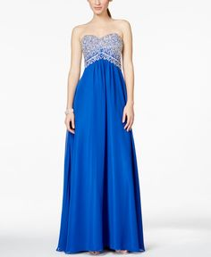 Betsy & Adam Beaded Chiffon Strapless Gown Macy's $239