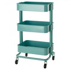 The Ikea Raskog cart is a favorite for crafters because of its narrow profile and stable wheel base. Store clay and supplies on utility cart - can roll where needed and the stored in closet/spare room when done.