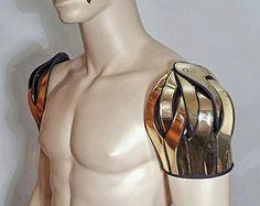 futuristic spartan shoulder armour shoulder cuff pauldron epaulet powldron custom made for men or women Bone Armor, Steampunk, Shoulder Armor, Shoulder Pads, Pauldron, Future Fashion, Mode Style, Festival Outfits, Costume Design