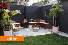 Before & After: Backyard Patio with DIY Built-In Benches — Smitten Studio | Apartment Therapy