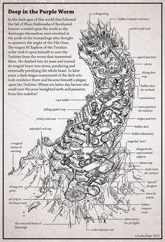 What would you get if you had a fantasy dungeon excavated inside a petrified purple worm rampant? Well, this, maybe.