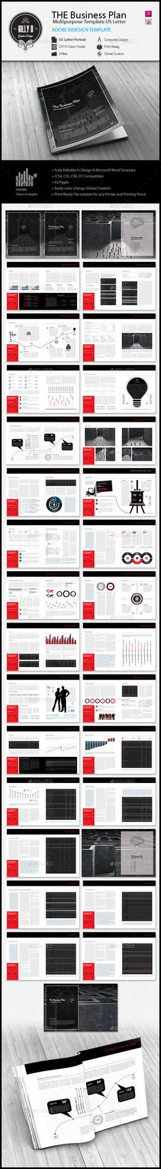 THE Business Plan Multipurpose Template US Letter - Proposals & Invoices Stationery Business Plan Template, Brochure Template, Business Presentation, Presentation Templates, Arch Model, Web Design Tips, Business Proposal, Publication Design, Graphic Design Templates